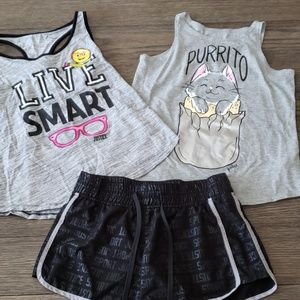 3 Piece JUSTICE SHORTS AND TANKS